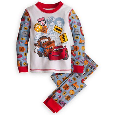 Disney Store Cars Lightning McQueen Tight Fit Long Sleeve Pajama Set Boy 6 7