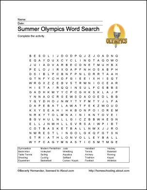 Summer Olympics Wordsearch  This would be fun to send to my kids over the summer as a hello.