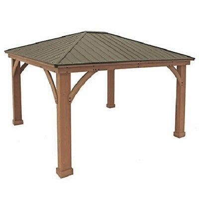 Yardistry 12 X 14 Cedar Gazebo With Aluminum Roof 2 199 99 Gazebo Aluminum Roof Garden Patio Furniture