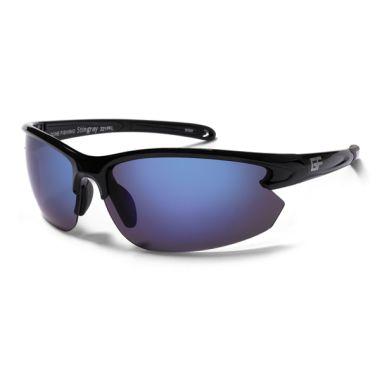 5c0a932ab0 Gone Fishing - STINGRAY - Polarized Fishing Sunglasses - Shiny Black frame    Grey w  Sapphire Mirror Lenses