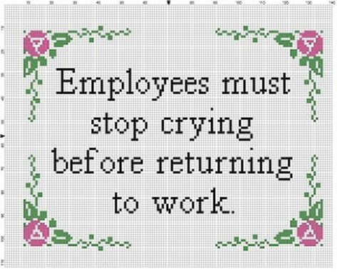 Employees must stop crying before returning to work Office Funny Cross Stitch Patterns, Cross Stitch Kits, Cross Stitching, Cross Stitch Embroidery, Naughty Cross Stitch, Subversive Cross Stitches, Stitch Witchery, Simple Cross Stitch, Needlework