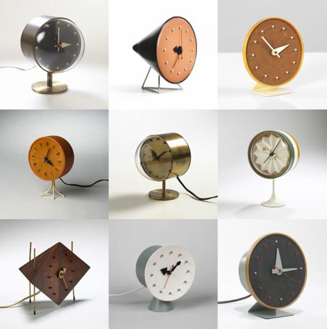 Nelson-table-clocks-2. Howard Miller Clock Company, Zeeland, Michigan. Designed by George Nelson.