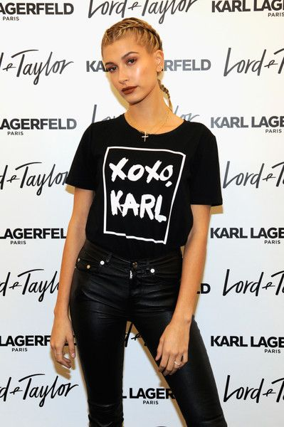 Hailey Baldwin attends the Karl Lagerfeld Paris x ELLE Event with Joan Smalls.