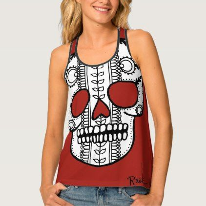 Black Sugar Skull Floral Pattern Yoga Gym Workout Tank Top In 2019