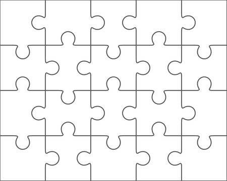Jigsaw Puzzle Vector Blank Simple Template 4x5 Twenty Pieces Puzzle Piece Template Puzzle Shop Puzzle Pieces