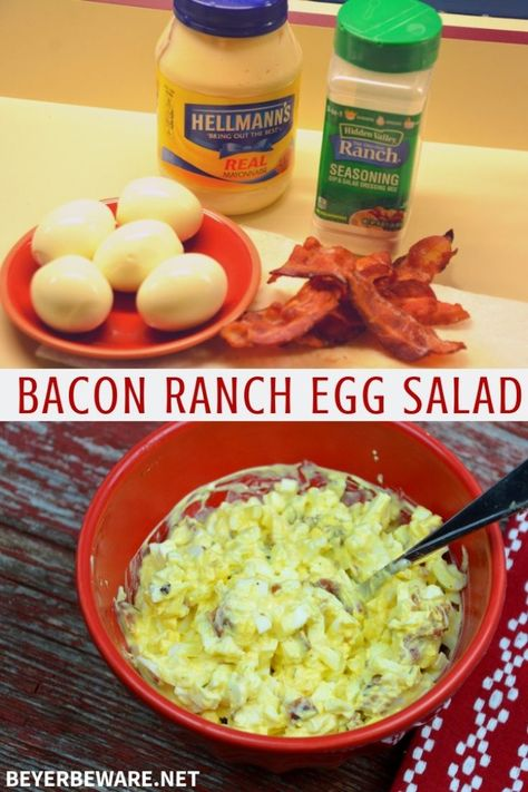 Bacon Ranch Egg Salad is a low-carb and keto egg salad recipe with four simple ingredients for a new twist on a classic recipe. Bacon Ranch Egg Salad is a low-carb and keto egg salad recipe with four simple ingredients for a new twist on a classic recipe. Low Carb Recipes, Diet Recipes, Cooking Recipes, Healthy Recipes, Egg Salad Recipes, Keto Recipes With Bacon, Cooking Games, Cooking Classes, Recipes With Eggs