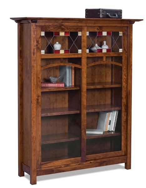 Amish Artesa Bookcase With Doors In 2020 Solid Wood Office