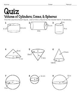 QUIZ (Volume of Cylinders, Cones, and Spheres) | Math quotes ...