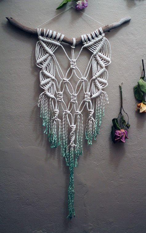 Dip Dyed Teal Macramé Wall Hanging