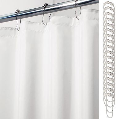 X Wide Fabric Shower Curtain Liner Rings 108 X 72 White
