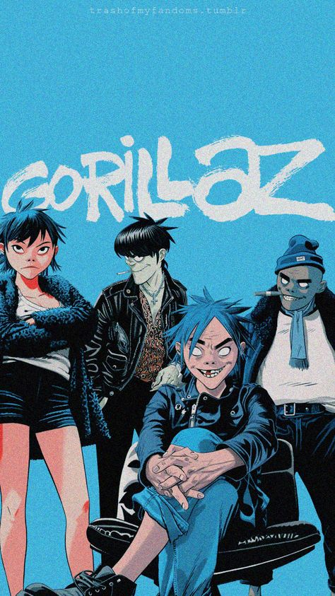 ✦ Don't repost it.✦ Don't claim as yours. ✦ Feel free to use them. aesthetic monkeys One Pilots killers Poster Wall, Poster Prints, Gorillaz Fan Art, Gabriel Picolo, Monkeys Band, Blue Aesthetic Pastel, Jamie Hewlett, Band Posters, Wall Collage