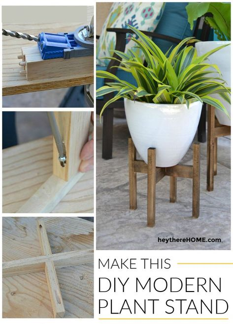 I love the look of simple wooden plant stands and this easy tutorial ads instant height and style to my plants!   #knockoff # #diydecor #plantstand #midcentury #woodworkingprojects #diy #diyproject #plants #westelm #patio #outdoor #outdoorliving #outdoorfurniture #homedecor #homemade #decoratingideas   via @heytherehome