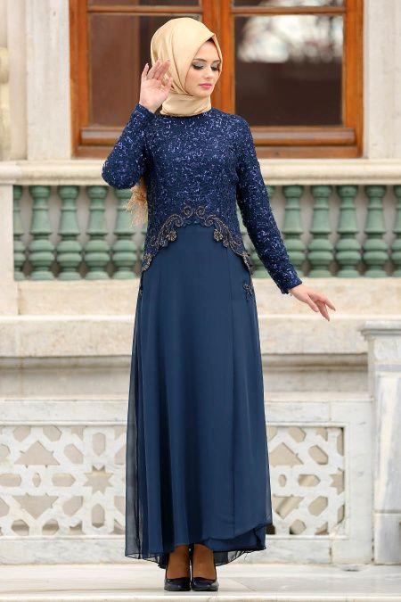 2018 Payetli Tesettur Abiye Elbise Modelleri Payetli Dantel Detayli Lacivert Tesettur Abiye Elbise Evening Dresses Soiree Dress Blue Evening Gowns