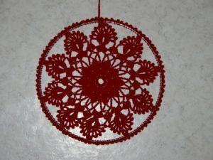 Deco Noel Au Crochet Rosace De Fenètre Rouge Avec Tuto