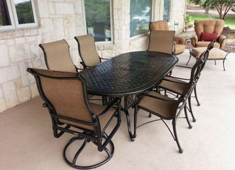 Gensun Casual S Grand Terrace Dining Table Enjoy Your Outdoor Room Yard Art Patio Fireplace With Images Outdoor Rooms Patio Fireplace Outdoor Furniture Sets
