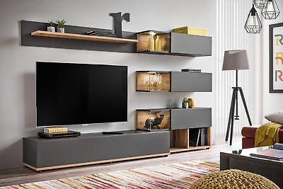 Details About Simi Anthracite Modern Entertainment Center Living Room Wall Unit Living Room Wall Units Living Room Tv Unit Living Room Entertainment