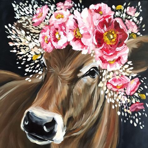 ORIGINAL 20x20 Ginger Jersey Cow painting, farmhouse art, cow painting