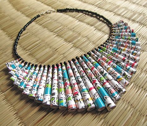 Paper jewelry  Big chunky Necklace  Funky by HippieKingdom on Etsy, $68.00