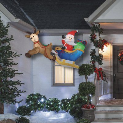 Gemmy Christmas Inflatable Flying Santa And His Sleigh 6ft W Christmas Inflatables Outdoor Inflatable Christmas Decorations Outdoor Christmas Decorations