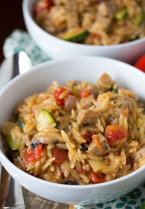 One-Pot Creamy Orzo with Chicken Sausage | tablefortwoblog.com