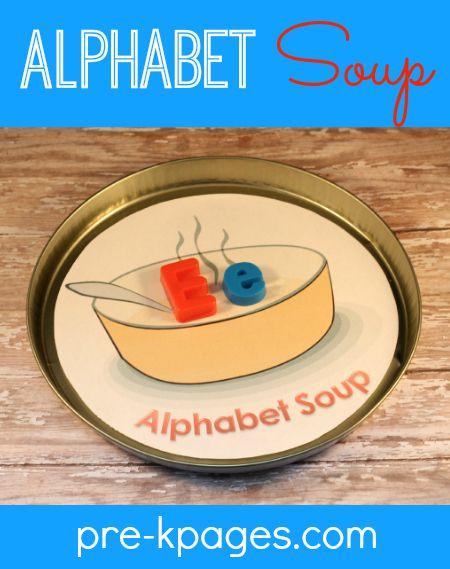 Free Printable Alphabet Soup Activity #preschool #kindergarten
