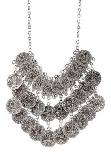 Lux Accessories Faceted Cream White Teardrop Stone Bib Chain Necklace