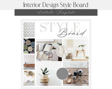 Interior Design Editable Style Mood Board Template - Social Media Content Instagram Facebook Posts - Virtual Design