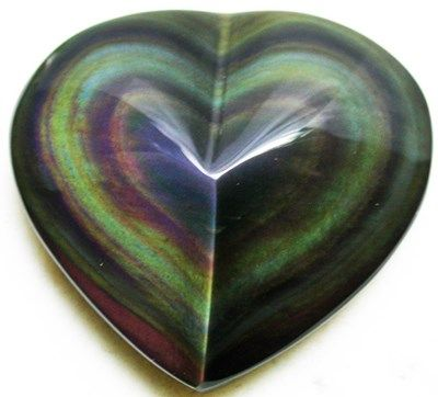 rainbow obsidian heart bring light and protect sensitive from depression help with shock from tramatic events
