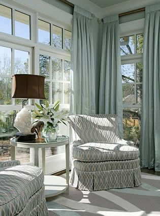 Love the blue color & the drapes. No hooks. Love the windows, chairs, & table.  Love...Love...Love... so calming...