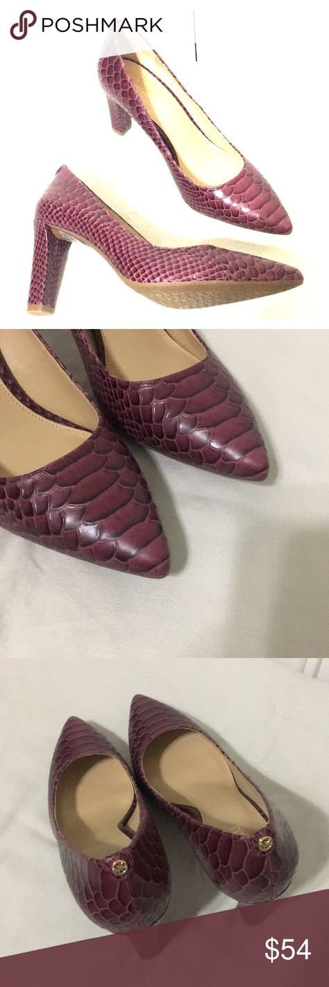 "9ea3295b7649 New Michael Kors Abbi Snakeskin Embossed Pumps NWOT Michael Michael Kors  Abbi Snakeskin Embossed Leather Pumps. Mulberry (burgundy color) 3.5"" cover  thick ..."