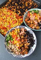 Sweet Potato and Black Bean Burrito Bowls are loaded with flavor, are easy to make and use lots of pantry and freezer staples such as corn, rice, beans, salsa and sweet potatoes! www.nutritionistreviews.com #burrito #bowls #sweetpotatoes #blackbeans #beans #vegetarian #glutenfree #healthy #cleaneating #mexican #mexicanfood