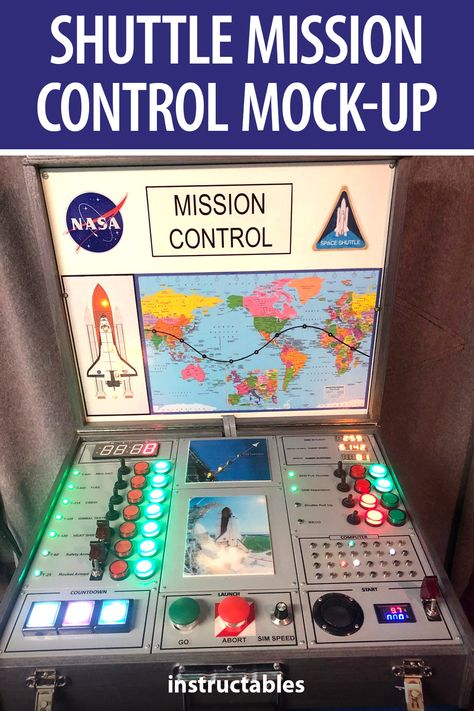 gcall1979 made this mission control center for children so they can present to launch a space shuttle. It has switches, buttons, LEDs, and 7-segment displays. #Instructables #electronics #technology #toy #Arduino