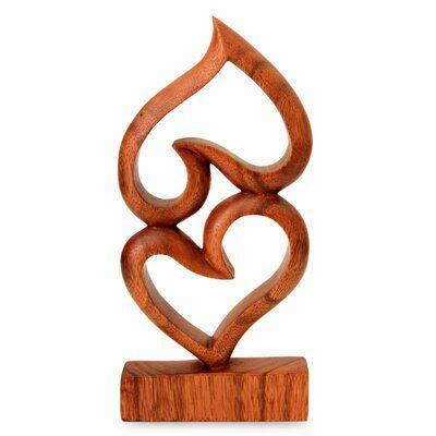 Winston Porter Danwood Upside Down Love Suar Wood Heart Sculpture In 2021 Wood Hearts Wood Sculpture Sculpture