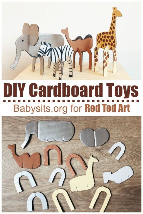 Easy Cardboard Animal Toys - Red Ted Art - Make crafting with kids easy fun Looking for ideas of What to make from a Box? Well, here are over 40 great cardboard box craft ideas. For both big and small boxes, you will find ideas. Cardboard Animals, Cardboard Box Crafts, Cardboard Toys, Cardboard Playhouse, Cardboard Furniture, Cardboard Box Ideas For Kids, Cardboard Castle, Animal Crafts For Kids, Diy For Kids