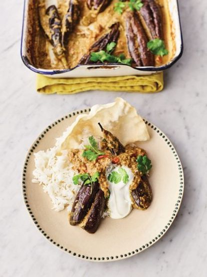 Stuffed Curried Aubergines Jamie Oliver Vegetable Recipes Recipe Curry Recipes Recipes Food