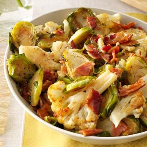 Roasted Cauliflower & Brussels Sprouts with Bacon Recipe from Taste of Home