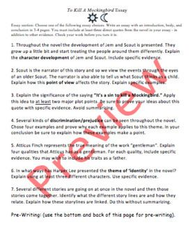 To Kill A Mockingbird Essay Grading Rubric Fast By Teacher Best On Prejudice Thesi Theme Statement