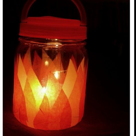 Have each camper create a firelight lantern with crepe paper and a glue stick.
