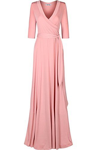 Bon Rosy Women's 34 Sleeve Classic Paris Maxi Wrap Dress at