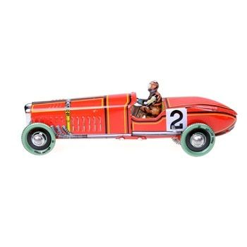 1pc Iron Metal Handicraft Vintage Windup Classic Red Race Car Model Clockwork Tin Vehicle Toy Collectable Gift Racing Car Model Red Race Car Model