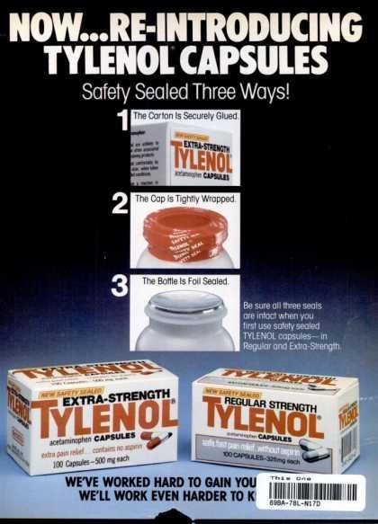 1983) *In 1982 7 people in the Chicago area died from Tylenol capsules that were laced with potassium cyanide. The inci… | Medicine, Medical photos, Tylenol dosage