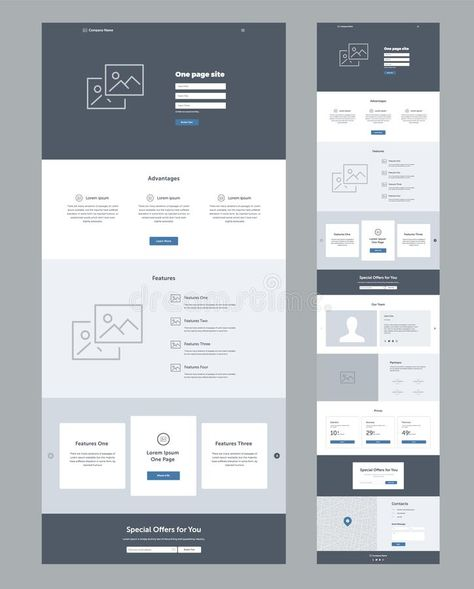 One Page Website Design Template For Business. Landing Page Wireframe. Flat Modern Responsive Design. Ux Ui Website Template. Stock Vector - Illustration of facts, concept: 150020156
