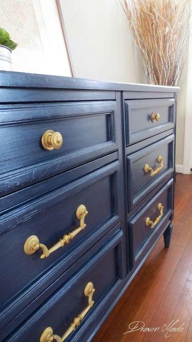 Gold Dresser Blue Painted Furniture, Navy Blue Dresser Bedroom Furniture