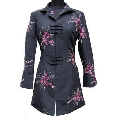 Veste Chinoise Mi Longue Noire | Robe chinoise, Veste, Mode