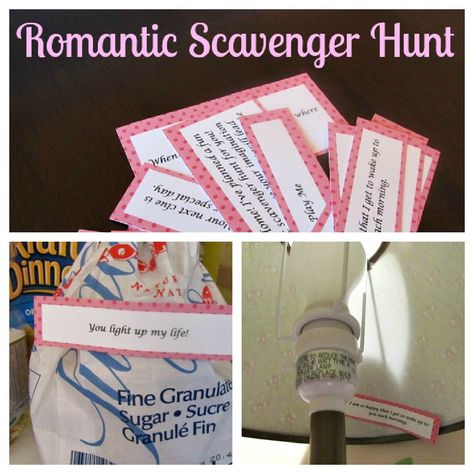 Romantic scavenger hunt - great idea for around the year...Valentines Day, Anniversary, birthday