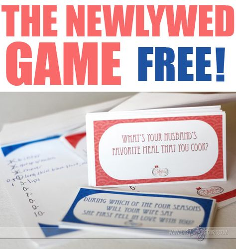 A FREE download for The Newlywed Game!  What a great idea for a quick, fun at-home date.  Valentine's Day, maybe? www.TheDatingDivas.com #datenight #freeprintable #vday