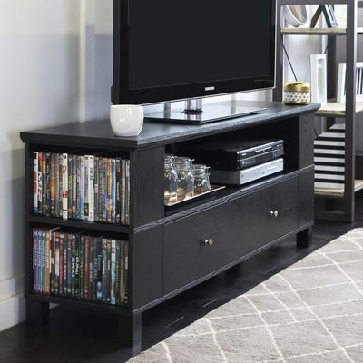 60 Black Tv Stand Media Storage Console Tv Stand With Storage