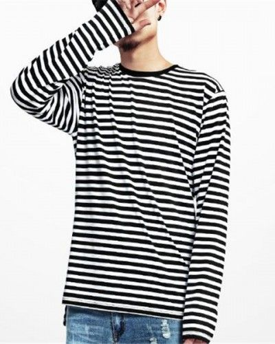 0f1fb8273ea6 Black and white striped t shirt slim fit long sleeve hip hop tee for men