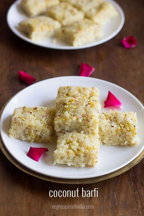 Nariyal Barfi Recipe With Step By Step Photos A Delicious Soft Coconut Barfi Made From Fresh Grat Grated Coconut Recipes Coconut Barfi Recipe Coconut Recipes