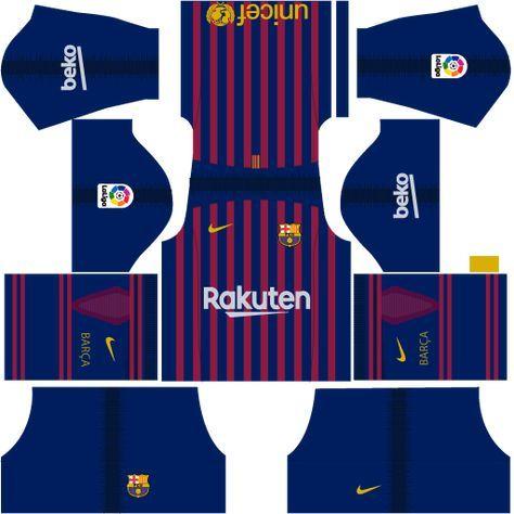 F C Barcelona Nike Kits 2018 19 For Dream League Soccer 2019 Barcelona Soccer Barcelona Football Kit Barcelona Champions League